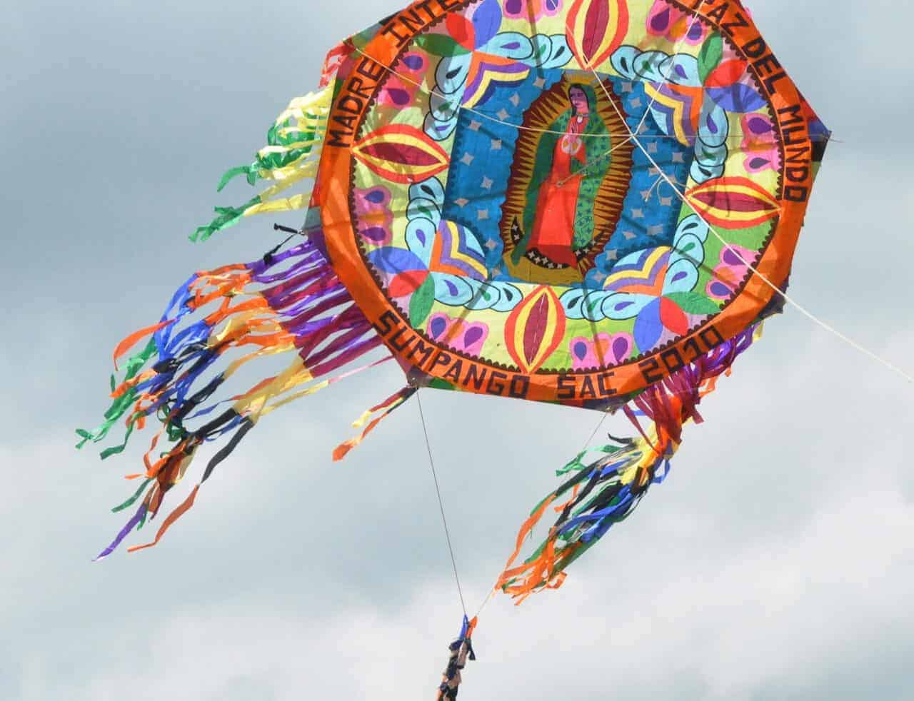 Virgin of Guadalupe kite on Day of the Dead Kite Festival Guatemala