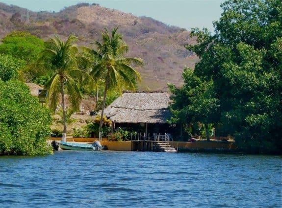 Dock at Manialtepec Lagoon near Puerto Escondido, Oaxaca, Mexico.