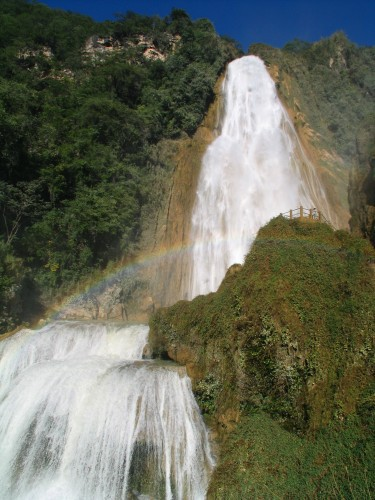 Plunging waters of Bridal Veil Fall at El Chiflon in Chiapas, Mexico.