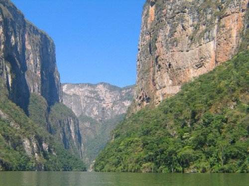 Canyon walls and water of Sumidero Canyon in Chiapas Mexico.