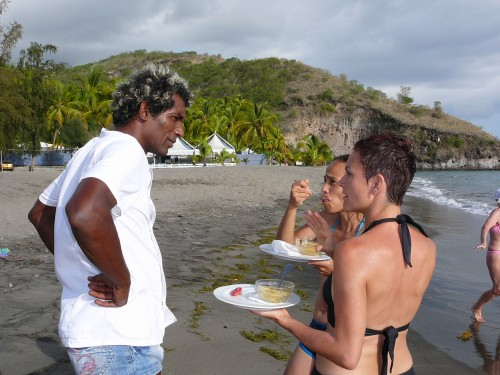 Chef Guy Ferdinand chatting with diners at Le Carbet, Martinique.