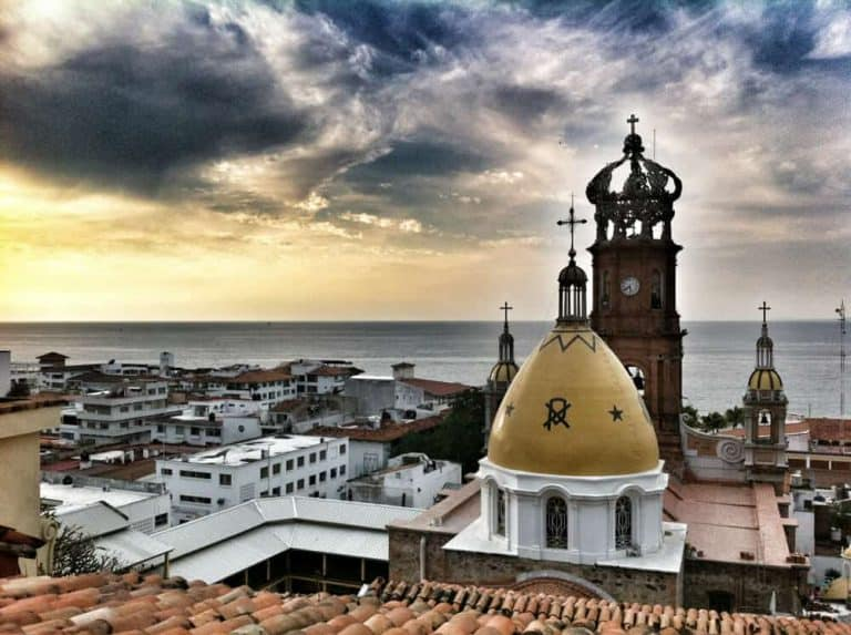 Skyline of Puerto Vallarta with Church of Guadalupe