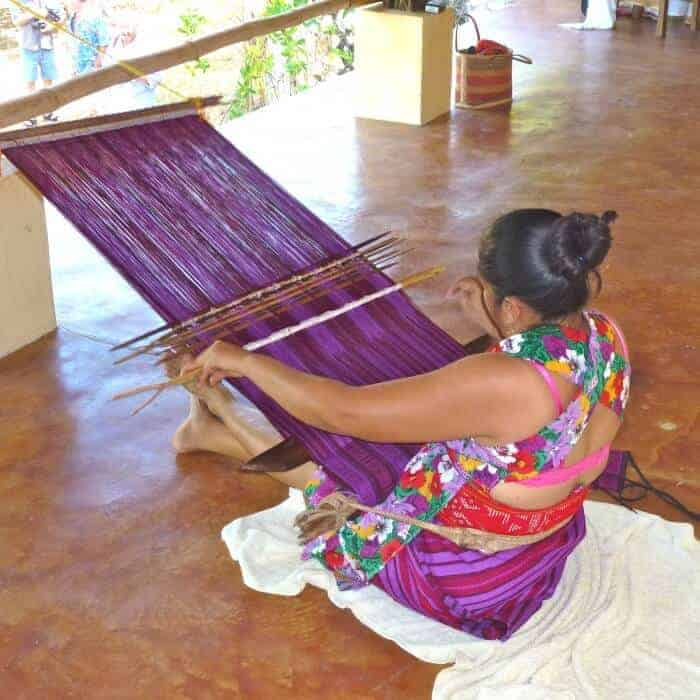Demonstration of traditional backstrap weaving in Oaxaca