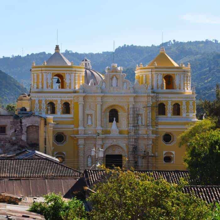 View of La Merced church from the rooftop of my hotel in Antigua Guatemala