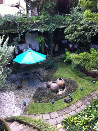 Secluded courtyard at Hotel Panza Verde