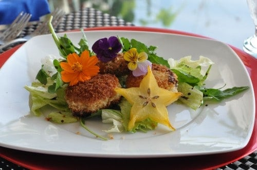Easy crab cakes with edible flowers on a white plate at Arte Culinaro Cooking Class in Puerto Vallarta Mexico.
