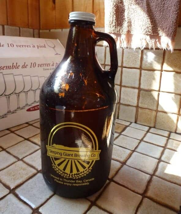 Growler of Sleeping Giant Ale