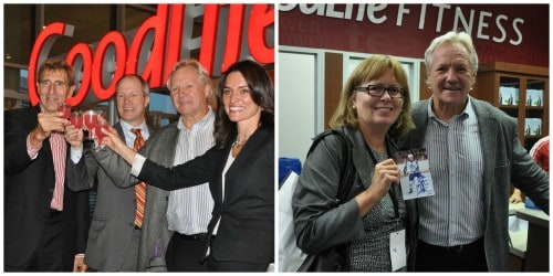 """Hockey legend Darryl Sittler and David """"Patch"""" Evans at the launch of GoodLife Fitness Toronto Pearson"""