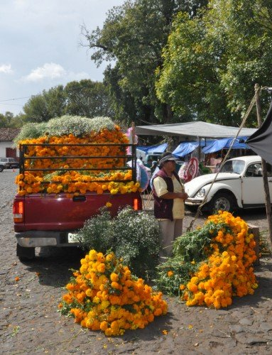 Cempasuchil vendor in Patzcuaro