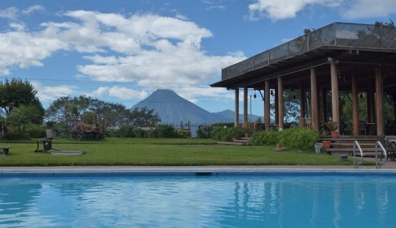 Pool with a view of a volcano