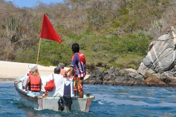 Boat headed to secret snail dye cove