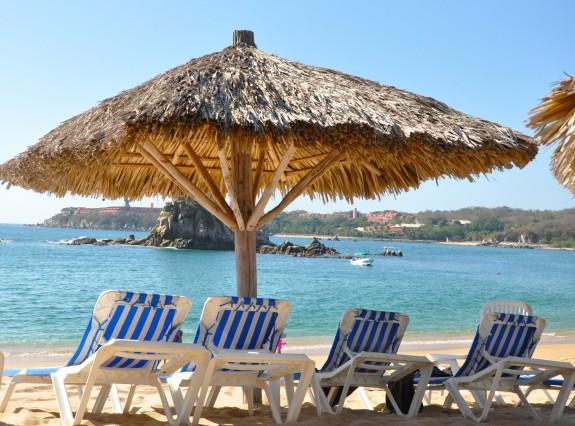Beach chairs at Tangolunda Bay