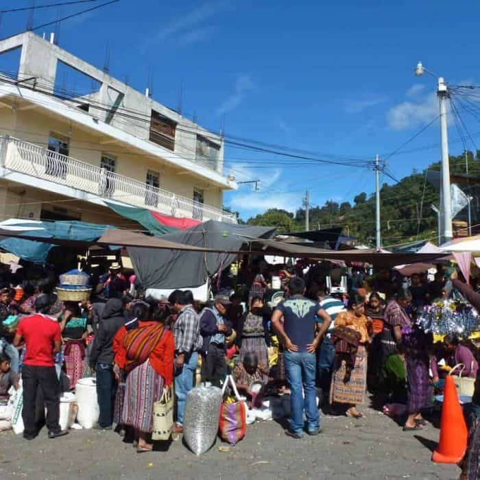 Crowds of people at the market in Solola, Guatemala