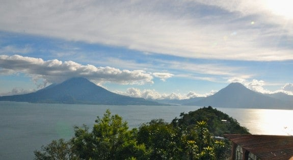 View of Lake Atitlan from the bus