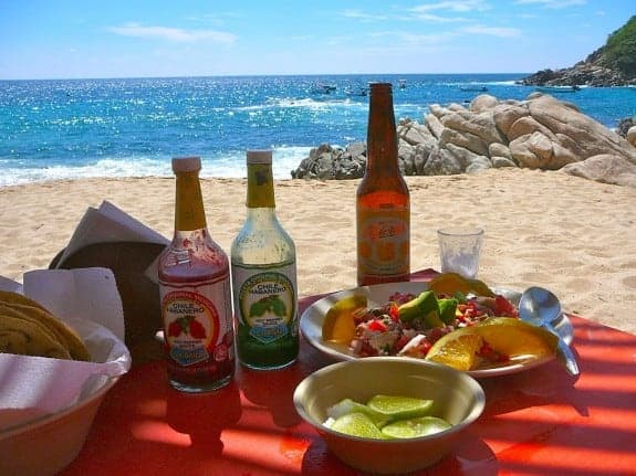 Fish ceviche at Manzanillo Beach