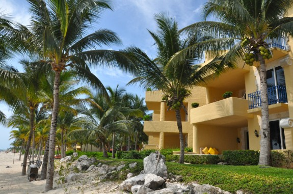 View of balcony terraces at Zoetry Resort in Mexico.