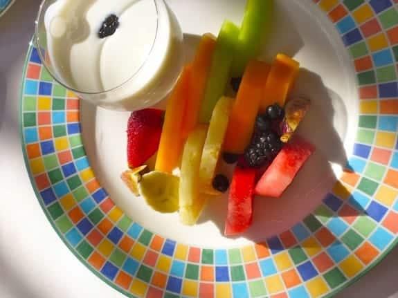 Fruit plate with yogurt breakfast at Zoetry Paraiso de la Bonita in Mexico.