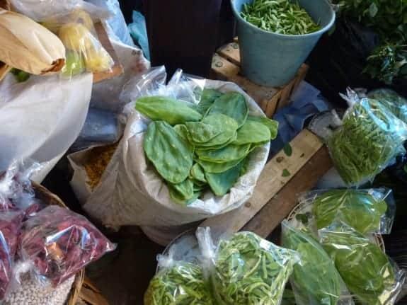 Bags of nopal cactus in Puerto Escondido's Benito Juarez Market.