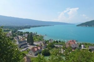View of village of Duingt on Lake Annecy, France