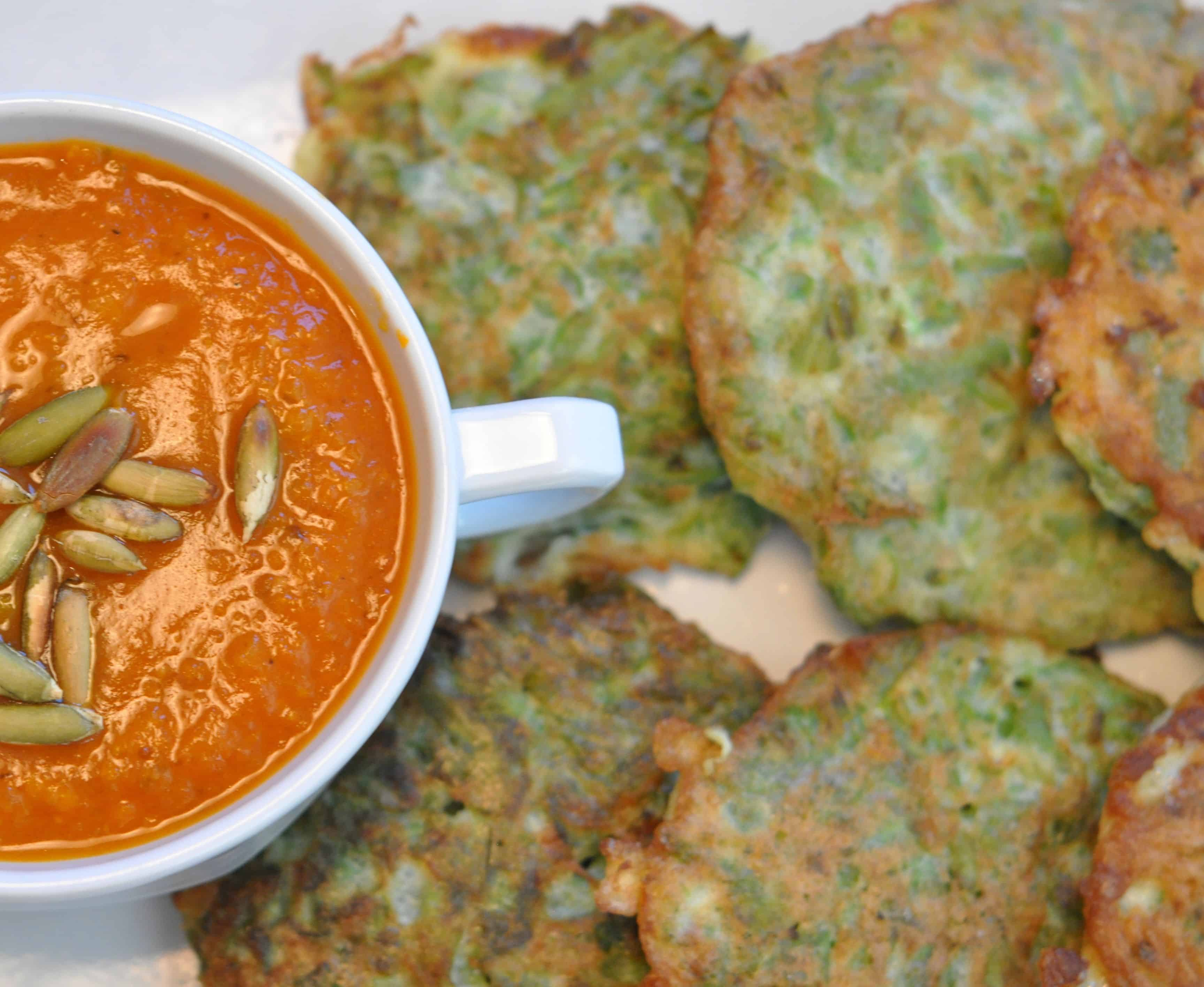 tortitas de ejote is a tradional dish of fresh green bean pancakes served with tomato salsa