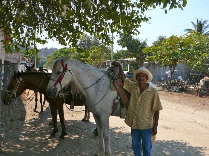 Horses and guide in San Jose Manialtepec