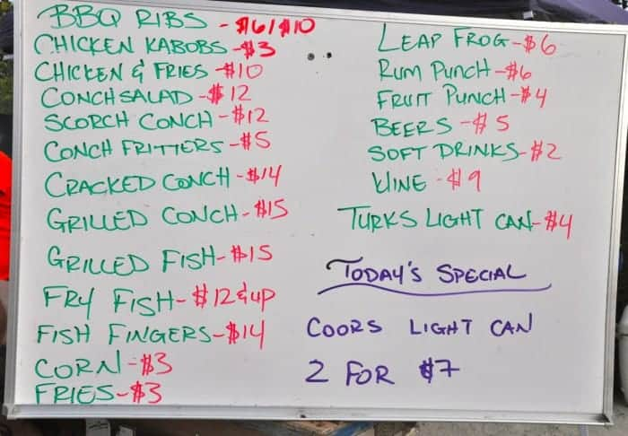 Conch menu at Island Fish Fry Providenciales Turks and Caicos Islands