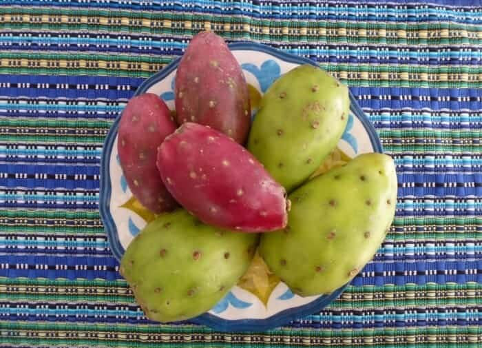 Green and red prickly pear cactus fruit from Oaxaca