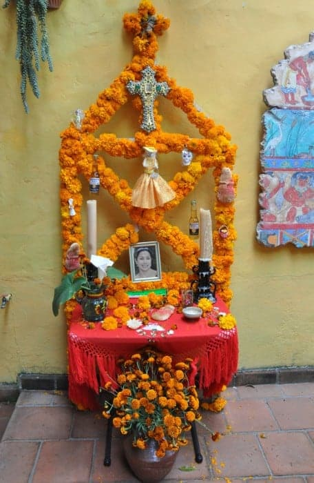 A home altar decorated for Day of the Dead