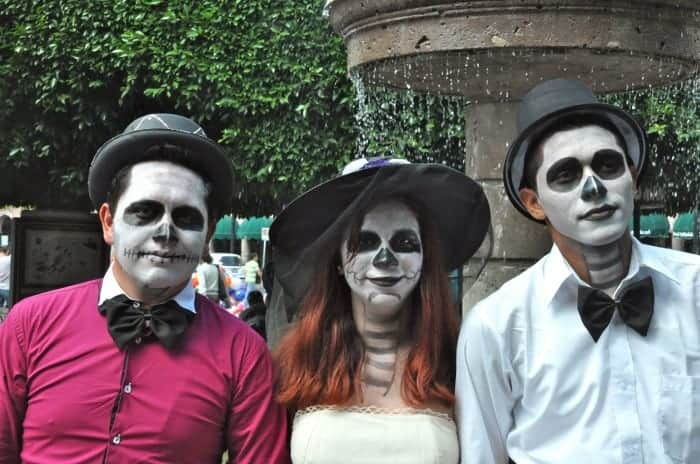 Teenagers ready for Dia de los Muertos in Morelia