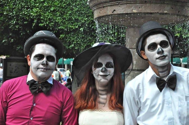 Teenagers ready for Dia de los Muertos in Morelia
