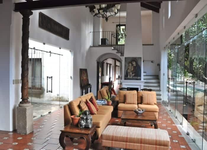 Luxurious interior of Hotel Cirilo in Antigua Guatemala