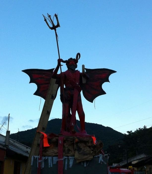 Effigy of the devil ready to be torched on dia del Diablo in Guatemala