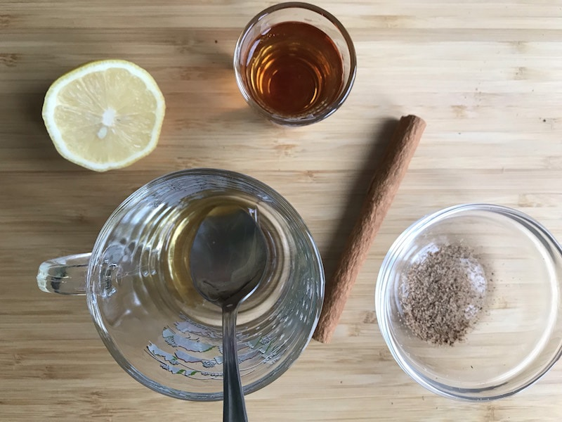 Ingredients for hot bourbon toddy