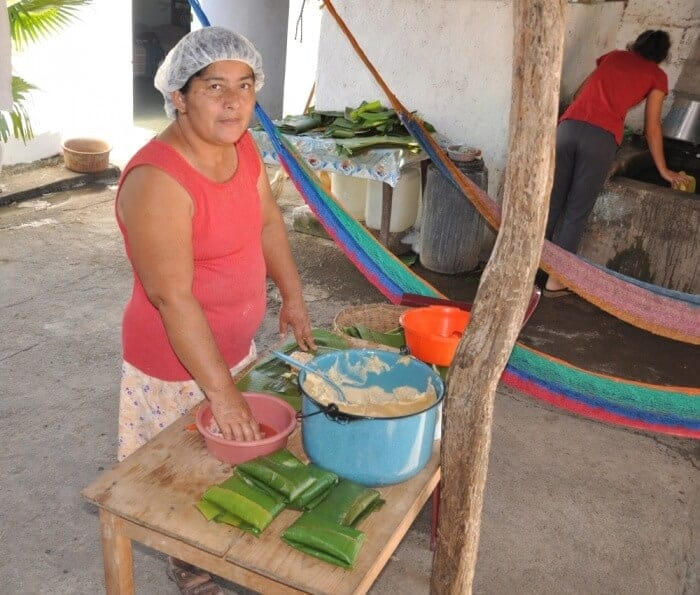 Wrapping tamales in Guatemala