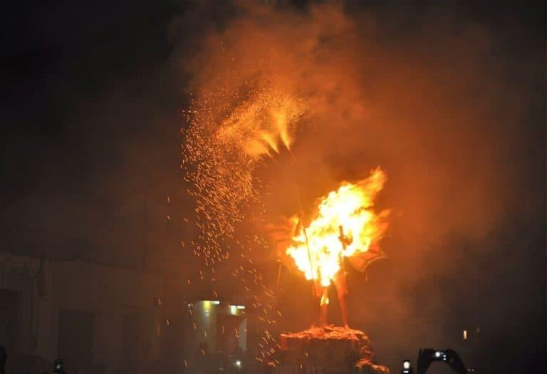 el diablo in full flame during Quema del Diablo in Guatemala