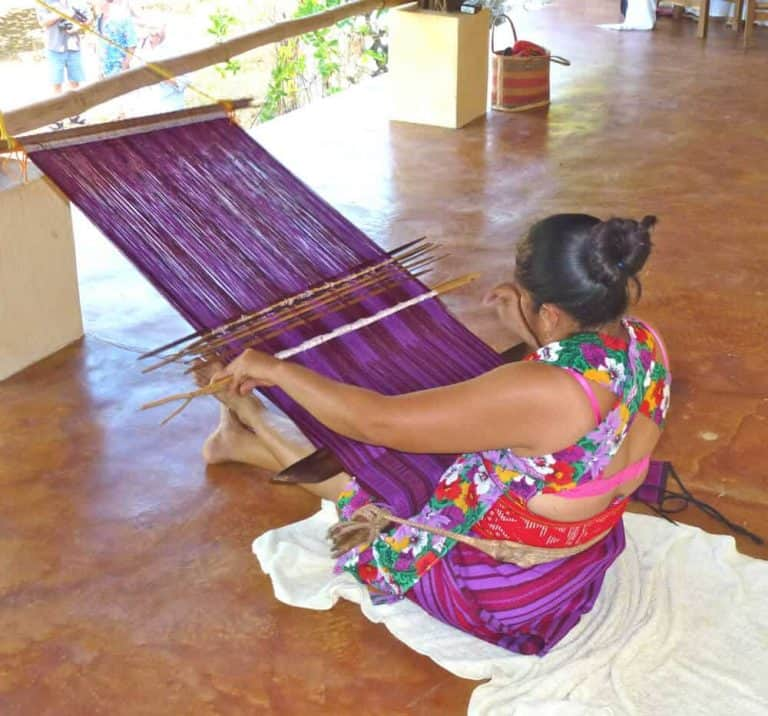 Mixteco weaver at Dreamweaver event