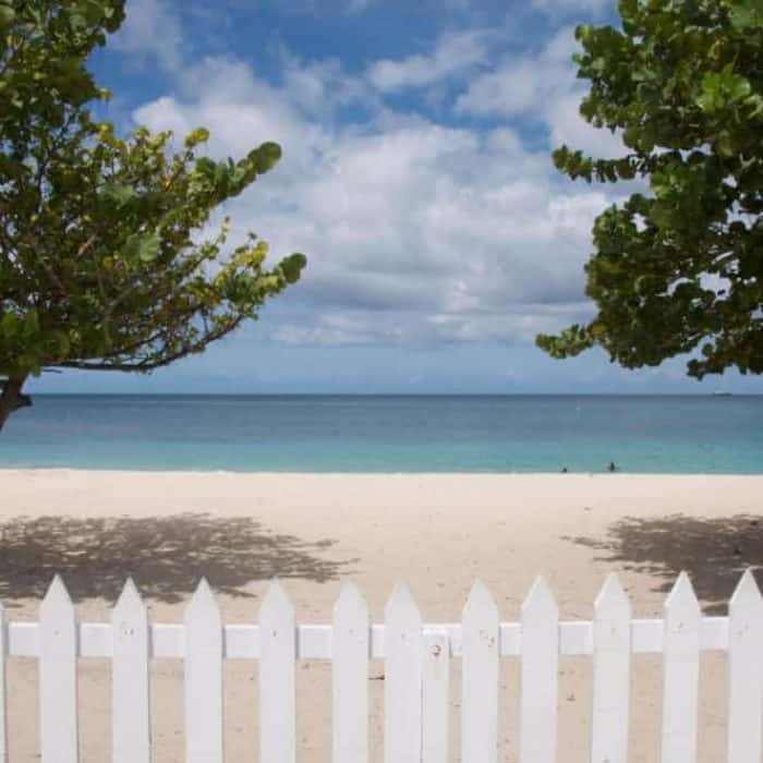 Fence overlooking beautiful Grand Anse Beach is perfect for swimming.