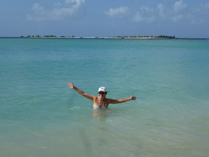 Travel writer Michele Peterson at Paradise Beach Carriacou