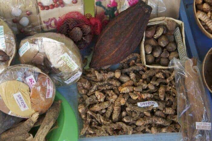 A selection of spices in the market St George's Town Grenada.
