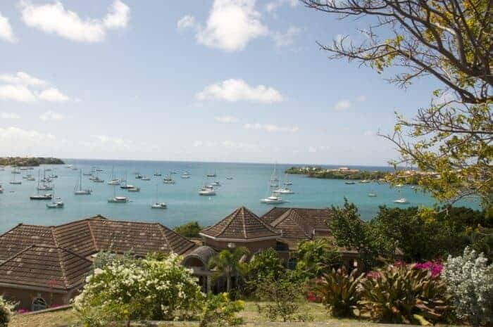 View of Prickly Bay and boats at Calabash Hotel and Villas in Grenada.