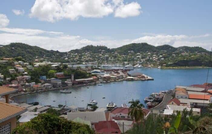View of harbour in St. George's Town Grenada.