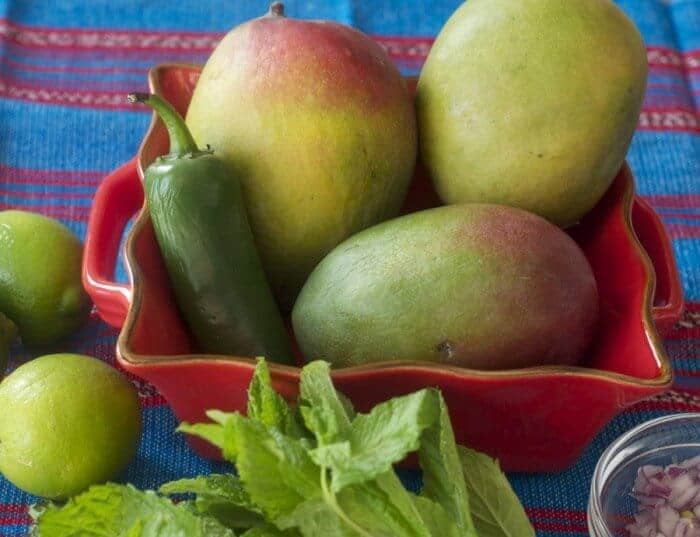 Mangos, mint, jalapeno and lime