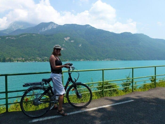 Cycling Lake Annecy in French alps Michele Peterson
