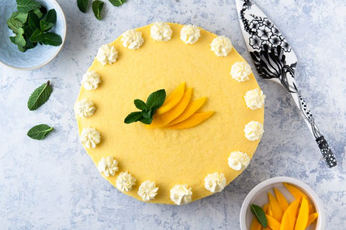 No-Bake Mango Pie is easy to make and features fresh ripe mangoes
