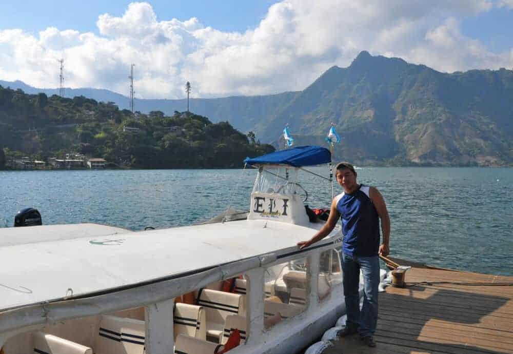 Boat at dock in San Pedro La Laguna Lake Atitlan