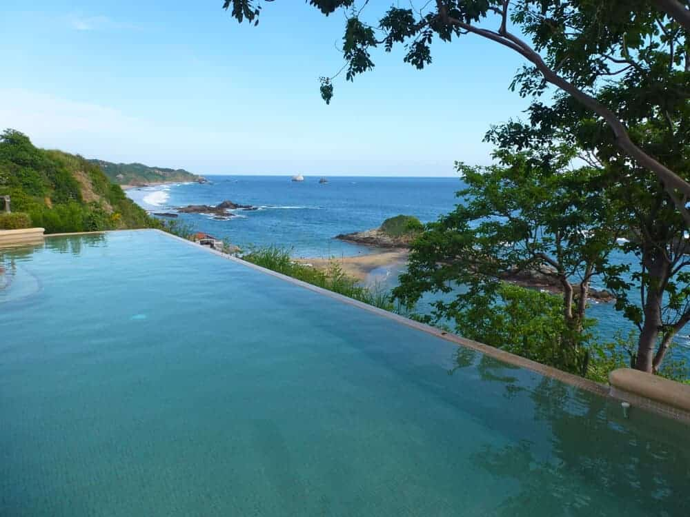 Swimming pool view from Casa Pan de Miel, Mazunte, Mexico.