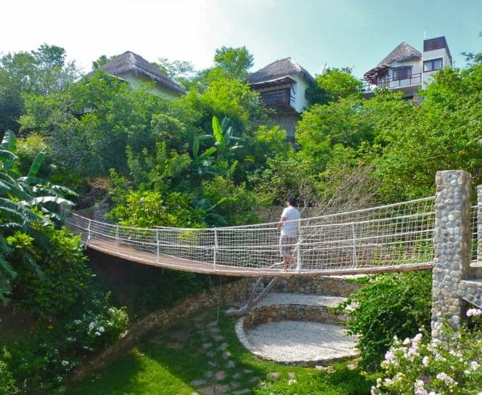 Swinging bridge at Zoa Resort in Mazunte
