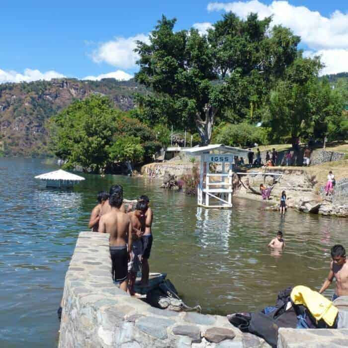 Boys swimming in Lake Atitlan