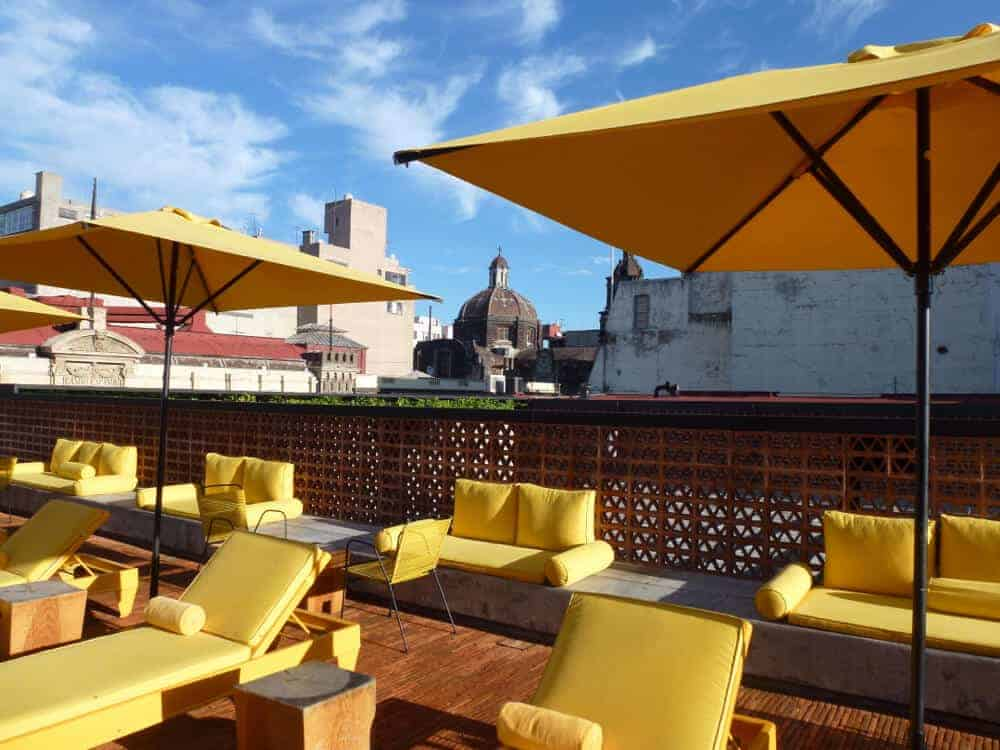 Rooftop terrace at Hotel Downtown Mexico City