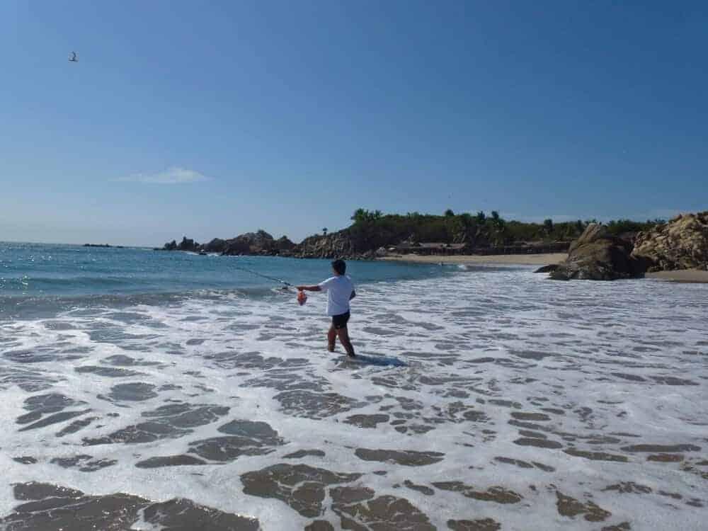 Fishing at Roca Blanca Beach in Oaxaca Mexico a top day trip from Puerto Escondido